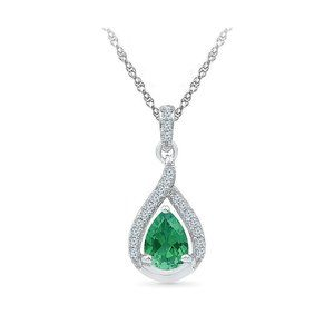 Jewelry - Pendant Necklace 14K Pear And Round 4.60 Ct. Emera